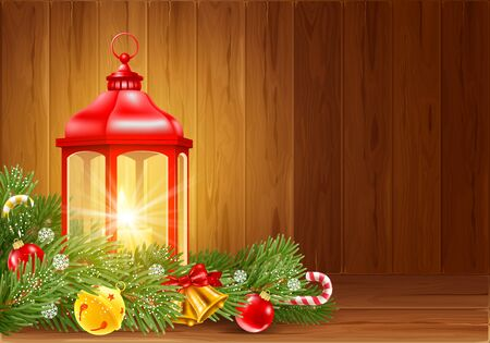 Red Christmas lantern with burning candle inside, decorated with fir tree branches, christmas balls etc. Wooden boards on background. Christmas and New Year Eve cozy scene. Vector illustration.