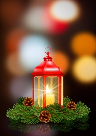 Red Christmas lantern with burning candle inside, decorated with fir tree branches and pine cones. Defocused background with bokeh and night lights. Christmas and New Year Eve cozy scene. Vector.