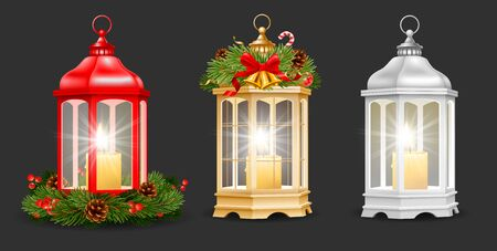 Set of Christmas and New Year lantern with burning candles inside. Red, golden and silver colors, decorated with christmas decor such as fir tree branches, cones, holly berry etc. Vector illustration.