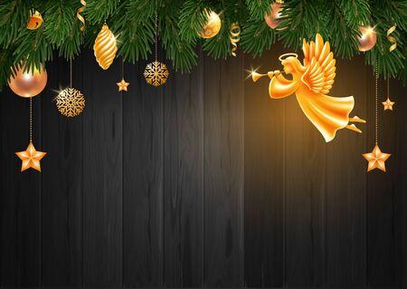 Grußkartenschablone der frohen Weihnachten und des guten Rutsch ins Neue Jahr. Goldener Engel mit Flügeln, Nimbus und Trompete zwischen Weihnachtsschmuck und Tannenzweigen auf dunklem Holzhintergrund. Vektor-Illustration. Vektorgrafik