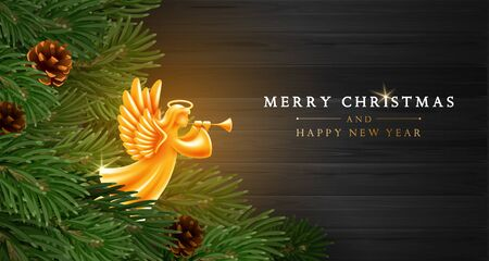 Merry Christmas and Happy New Year greeting card template. Golden Angel with wings, nimbus and trumpet among fir tree branches with pine cones on dark wooden background. Vector illustration.