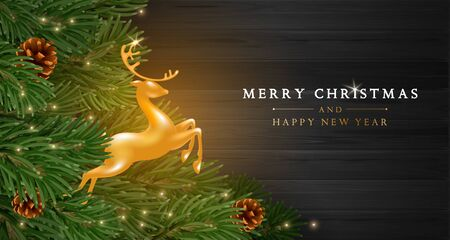 Merry Christmas and Happy New Year greeting card template. Golden figure of a jumping deer among fir tree branches with pine cones and sequins on dark wooden boards background. Vector illustration.