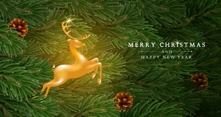 Merry Christmas and Happy New Year greeting card template. Golden figure of a jumping deer among fir tree branches with cones. Christmas and New Year Eve cozy scene. Vector illustration.