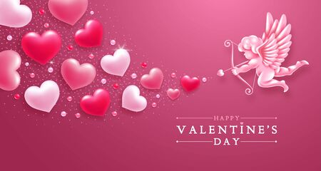 Valentines day romantic greeting card template. Realistic figure of cupid with bow and arrows, aiming in hearts of lovers. Vector illustration. Illustration
