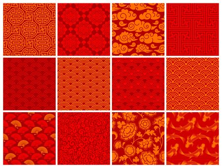 Set of oriental chinese or japanese seamless patterns. Traditional asian ornaments floral, geometric, seigaiha, with clouds, fans, fish, auspicious symbols. Red and golden colors. Vector illustration.