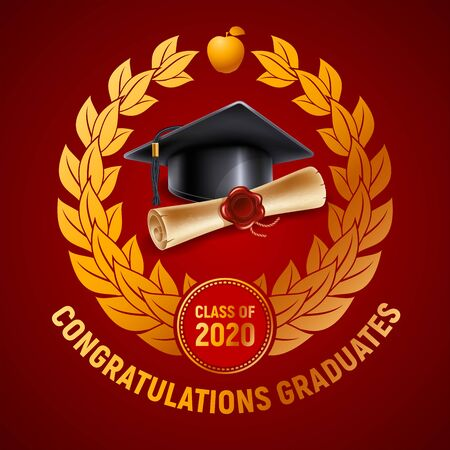 Congratulations graduates class of 2020. Emblem with congratulatory text, graduation cap with tassel and diploma. Layout in red and gold colors, decorated with laurel wreath. Vector illustration.