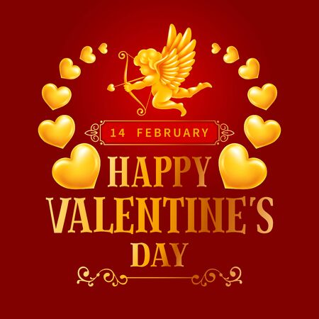Valentines day chic greeting card with golden figure of cupid, golden glowing hearts and ornaments. Vector illustration.