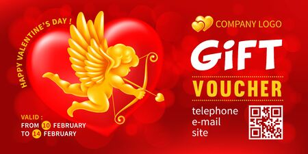 Template for gift voucher, certificate or coupon for profitable shopping on Valentines day or Womans day. Realistic golden figure of Cupid, red heart on red background with bokeh. Vector illustration.