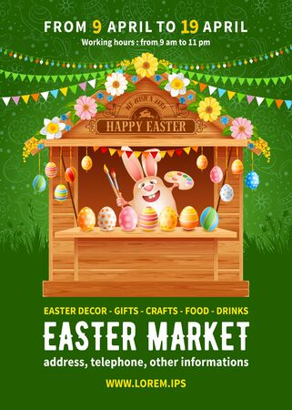 Easter Market poster template. Advertising banner for holiday fair with wooden stall decorated by flowers and colored Easter eggs, cartoon smiling bunny and space for text. Vector illustration.
