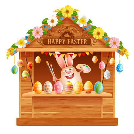 Wooden trade stall for festive Easter Market, decorated by flowers and colored Easter eggs. Cartoon smiling bunny with paintbrush and palette. Vector illustration.