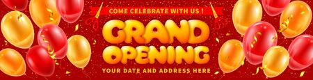 Advertising banner of Grand Opening and ribbon cutting ceremony. Unusual design with volumetric letters, red ribbon and scissors. Balloons and tinsel create a festive atmosphere. Vector illustration. Banco de Imagens - 139741855