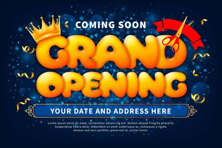 Advertising banner of Grand Opening and ribbon cutting ceremony. Unusual design with volumetric letters, golden crown, red ribbon and scissors. Tinsel create a festive atmosphere. Vector illustration.