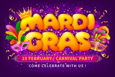Advertising or invitation for Mardi Gras Carnival. Luxury golden venetian masks with lush feathers and letters Mardi Gras with golden crown on bright background with glitters and tinsel. Vector.