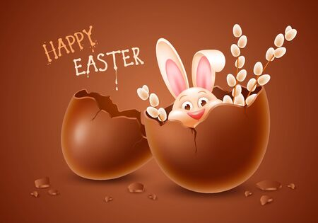 Broken Easter chocolate egg made from dark chocolate with cheerful Easter bunny and some willow branches inside. Two halves chocolate eggshell with fun rabbit. Vector illustration.