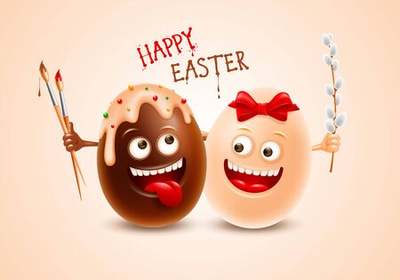 Two smiling Easter chocolate eggs made from dark and white chocolate, with red bow and glaze. Fun characters to Easter holidays. Holding brushes and pussy-willow branches. Vector illustration.
