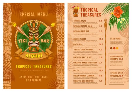 Template for menu of Tiki bar or club. Cover and back side. Drinks and food. Traditional Tiki mask, torches and tropical plants and flowers. Vector illustration. Illustration