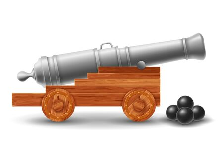 Ancient ship cannon on wooden carriage with cannonballs. Isolated on white background. Vector illustration.  イラスト・ベクター素材