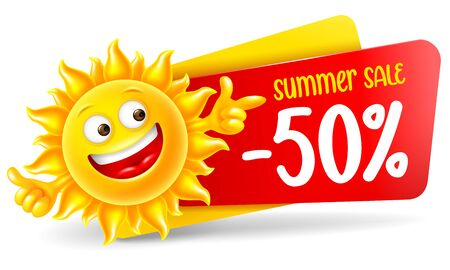 Cheerful sun character announce summer sale and discounts. Showing thumbs up and pointing finger, in front of sale banner, isolated on white. Bright cartoon element for advertising design. Vector. Vettoriali
