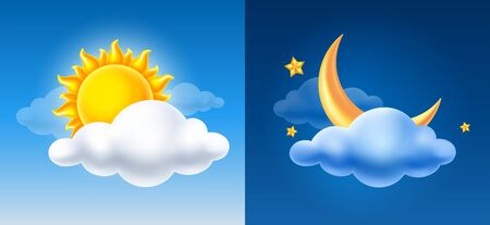 Day and night. Volumetric sun, half moon and cloud on blue sky background. Vector illustration.