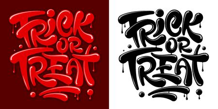 Trick Or Treat lettering for Halloween celebration. Unusual inscription, drawn by blood or red paint, with drips and drops. Color variant and monochrome. Isolated vector illustration. Vektorové ilustrace
