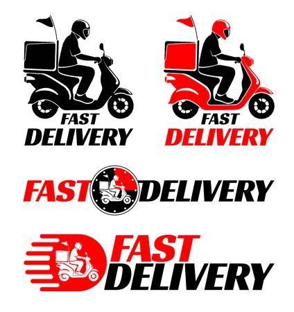Logotypes design set for fast delivery of food or parcel by scooter. Vector illustration.
