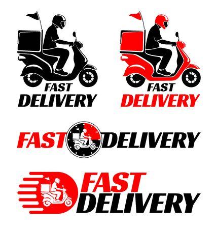 Logo-Design-Set für die schnelle Lieferung von Lebensmitteln oder Paketen mit dem Roller. Vektor-Illustration.