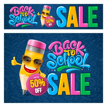 Back to school sale. Advertising banners design template set with cheerful cartoon pencil and calligraphy lettering. Pattern with subjects related to education on blue background. Vector illustration.