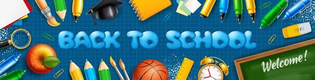 Back to School horizontal banner with school stationery and supplies, such as magisters cap, pencils, notebook and other on blue checkered background. Vector illustration.