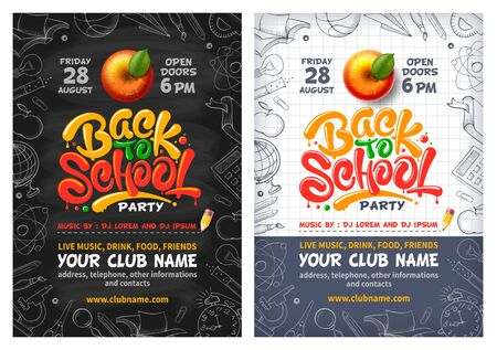Back to School party posters with red apple and lettering Back to school. Handwritten school subjects in doodle style as frame around. Chalkboard and checkered paper on backdrop. Vector illustration.