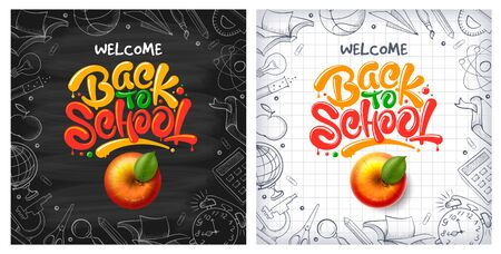 Back to School backgrounds with red apple and lettering Back to school. Handwritten education subjects in doodle style as frame around. Chalkboard and checkered paper on backdrop. Vector illustration. Ilustracja