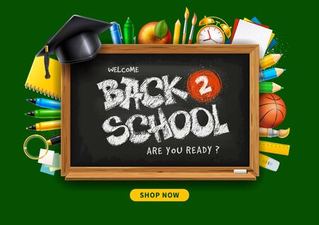 Back to School horizontal advertising banner about sale with school stationery and supplies, such as felt pens, colored pencils, notebook and other on green background. Vector illustration.