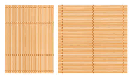 Set of two bamboo mat, square and rectangle. Natural and eco-friendly background or element for your design. Vector illustration.
