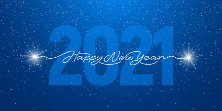 Happy New Year 2021 handwritten lettering with realistic sparklers or bengal lights. Blue background with big digits 2021. Creative artistic design for new year greeting. Vector illustration.