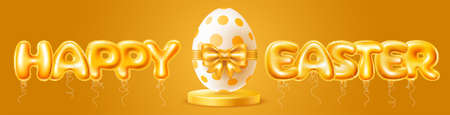 Easter banner template. Realistic inflatable golden foiled balloons in the letters shape make up the words Happy Easter. Big egg colored by dots pattern with golden bow on podium. Vector illustration