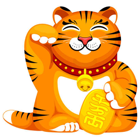 Maneki neko lucky ceramic figurine of tiger with raised right paw. Mascot for 2022 New Year for success, wealth. Translation Bringing wealth. Vector illustration.