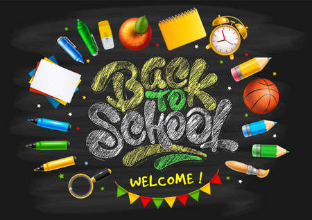 Back to School horizontal design for school party invitation or other events. School stationery and chalk lettering Back To School on blackboard background. Vector illustration.