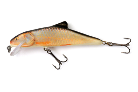 isolated lure on white background, fishing accessory Banco de Imagens
