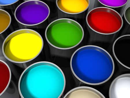 3d rendered paint cans Banco de Imagens