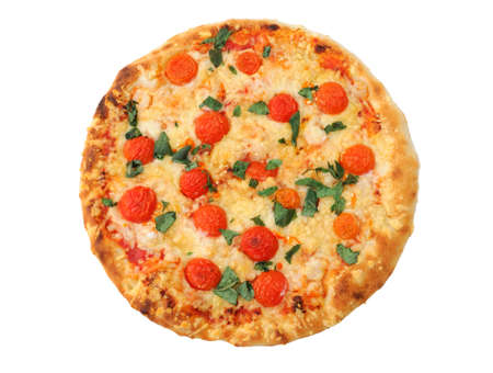 isolated pizza on white background, top view