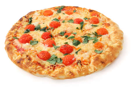 isolated pizza on white background, isometric view