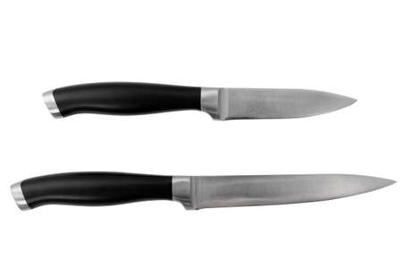 two isolated knives on white background Banco de Imagens