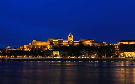 royal palace at night, Budapest, Hungary