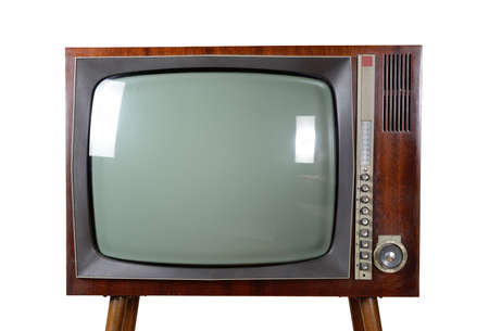 Old vintage TV over a white background with clipping-path