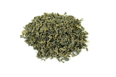 dried green tea leaves on white, isometric view