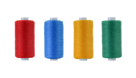 Close up of sewing threads isolated on white background Banco de Imagens