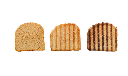 Isolated toast in three stages, raw, ideal and burnt Banco de Imagens