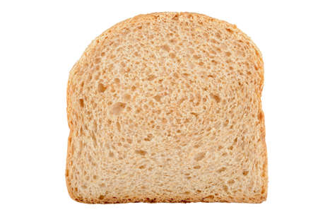Close up of bread slice isolated on white background