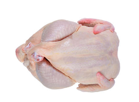 isolated raw whole chicken carcasses with clipping-path
