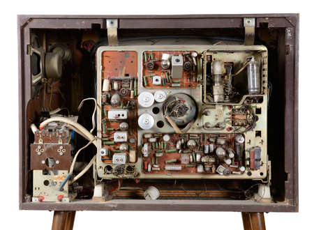 back of an old vintage TV over a white background with clipping-path