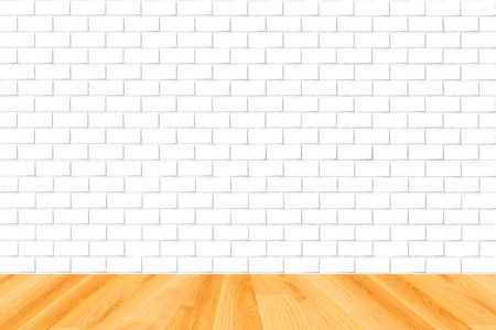 white wood floor: wood floor and white brick wall background Stock Photo